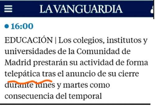 Actividad telepática en la Comunidad de Madrid