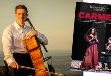 El violonchelista Gabriel Ureña / Foto: ©Yeray Menéndez (izda.) e imagen promocional del la ópera Carmen (dcha.)