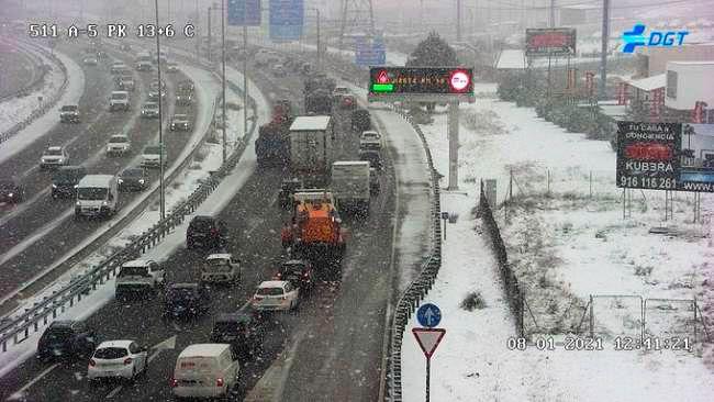 Densidad del tráfico en Madrid por los efectos de 'Filomena'
