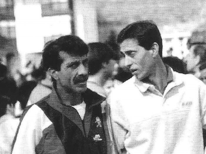 Alejandro de Ancos con  J. M. Abascal, primer medallista olímpico español en 1500. Vega del Pas, año 91