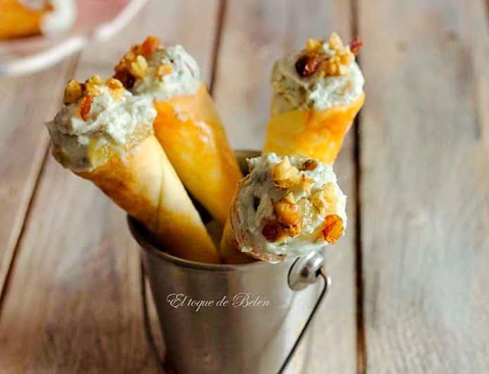 Conos de queso La Peral y frutos secos y dulce de manzana asturiana, del blog El toque de Belén