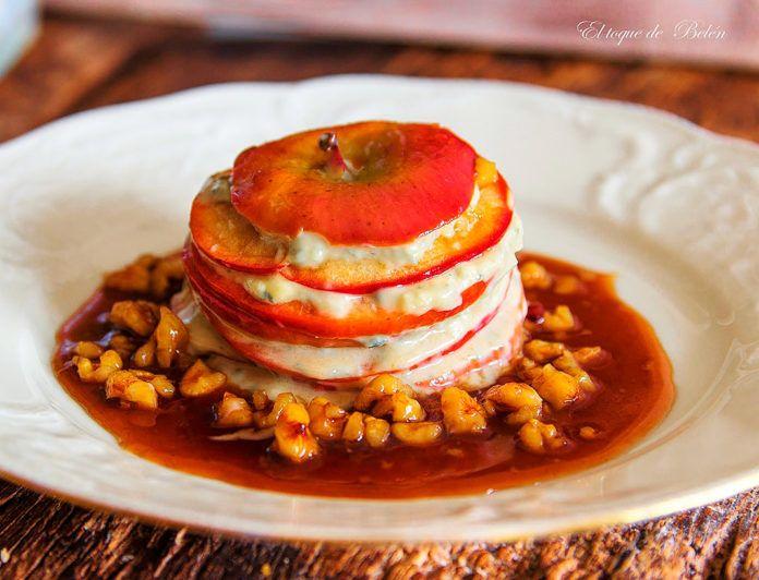 Milhojas de manzana y queso de La Peral con salsa de sidra y nueces, del blog El toque de Belén