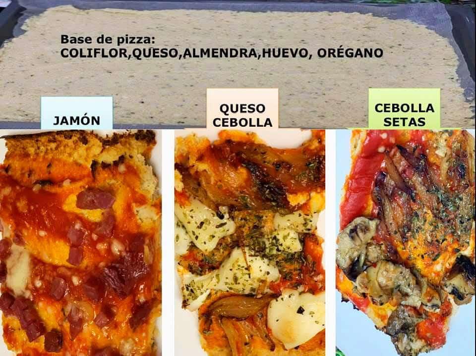 Diferentes variades de pizza hecha a base de coliflor