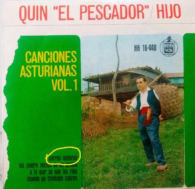 """Carátula del disco """"Canciones Asturianas Vol. 1"""" de Quin """"El Pescador"""""""