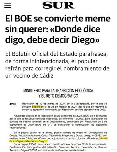 """""""Donde dice Digo, debe decir Diego"""""""