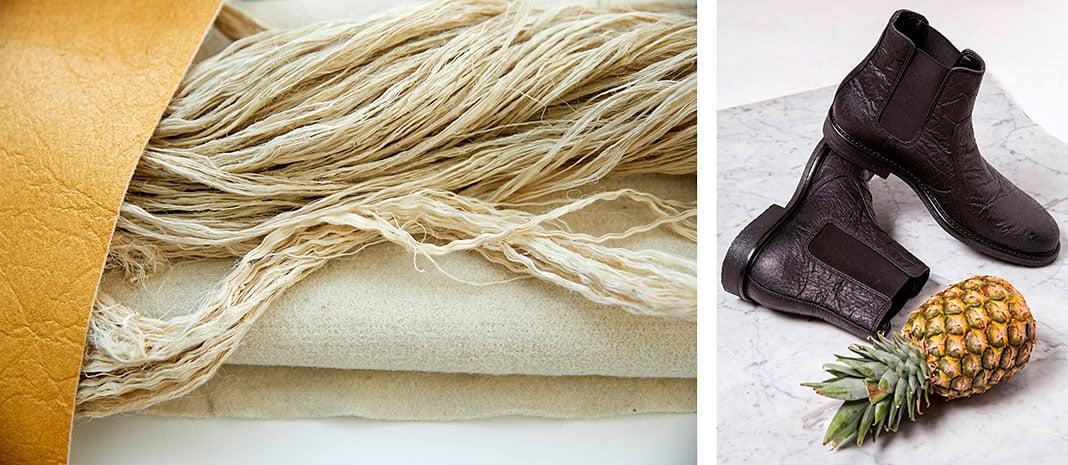 Fibras de hojas de piña y calzado elaborado por Piñatex con ese material