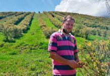 Fidel Zapico en la plantación de arándanos de AramoBerry