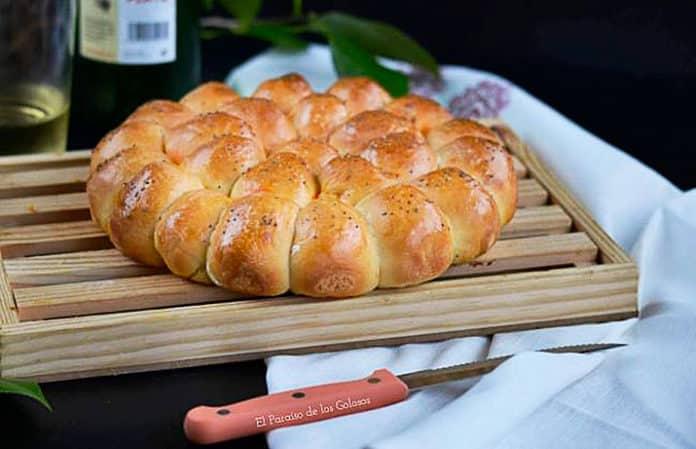 Flor de pan preñao con picadillo de chorizo, receta del blog El Paraíso de los Golosos
