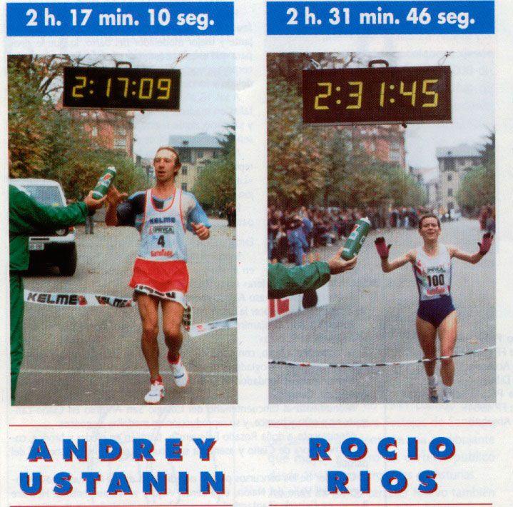 Andrey Ustanin, ruso y Rocío Rios, asturiana, ganadores del Maratón Valle del Nalón en el año 1992