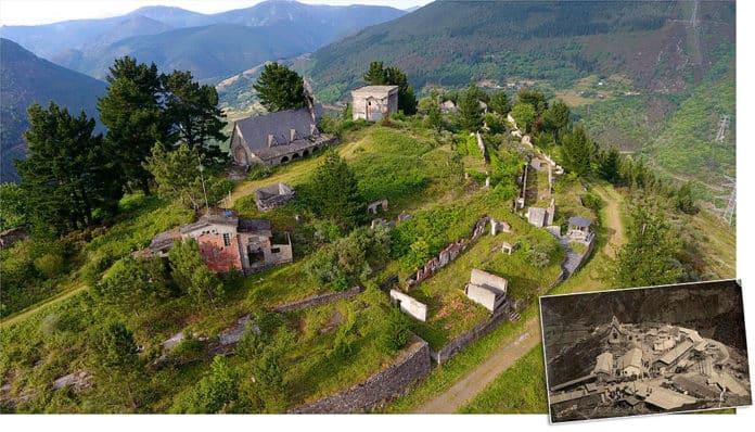 Panorámica del poblado de A Paicega en la actualidad. En pequeño, panorámica del poblado a mediados del pasado siglo