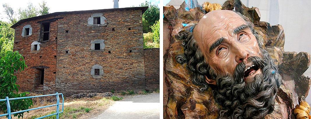 Izda., Casa del Escultor en Argul (Foto: Angela Ferreira). Dcha., Cabeza cortada de San Pablo