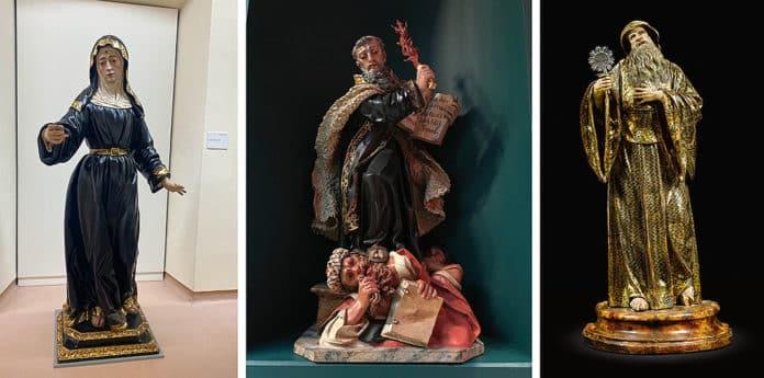 Esculturas de Juan Alonso Villabrille y Ron. De izda. a dcha., Santa Rita de Casia; San Elías. Dublín; San Francisco de Paula