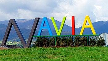 Cartel a la entrada de Navia